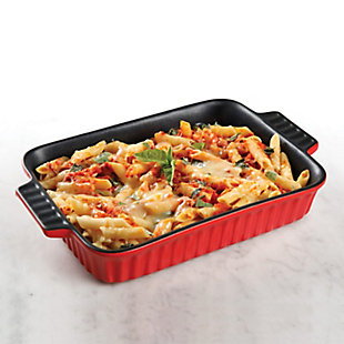Denhoff 10 in. Non-Stick Ribbed Casserole in Red, , rollover