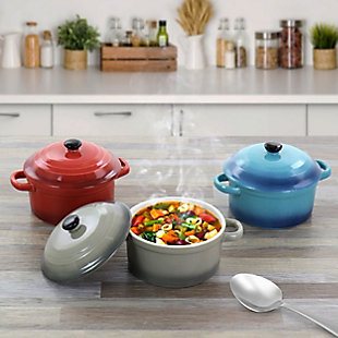 Crock Pot Pembury 3 Piece 9.6 Ounce Stoneware Assorted Casserole Dish Set, , large