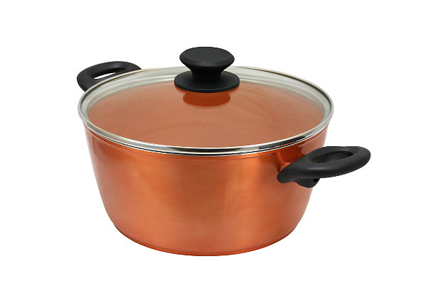 Gibson Home Friendly Home Hummington 4.5 Quart Dutch Oven with Lid in Metallic Copper, , large