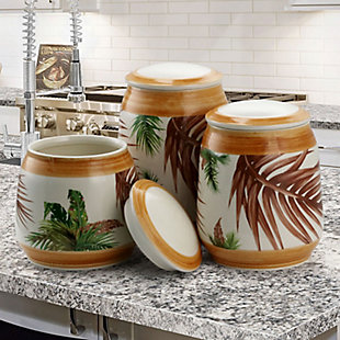 Elama 3 Piece Ceramic Kitchen Canister Collection in Sand, Beige, rollover