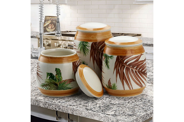 Elama 3 Piece Ceramic Kitchen Canister Collection in Sand, Beige, large