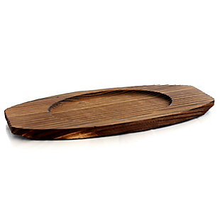 General Store Addlestone 2 Piece 10.5 Inch Pre-seasoned Oval Cast Iron Server with Burned Furwood Base, , large