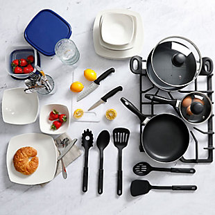 Gibson All U Need 45 Piece Dinnerware Cookware Combo Set in White, , rollover