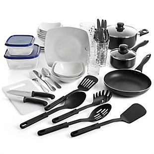 Gibson All U Need 45 Piece Dinnerware Cookware Combo Set in White, , large