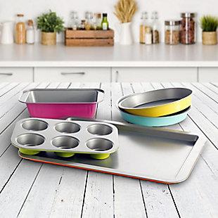 Gibson Home Color Splash Lyneham 5 pc Carbon Steel Bakeware Set, , rollover