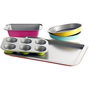 Gibson Home Color Splash Lyneham 5 pc Carbon Steel Bakeware Set, , large