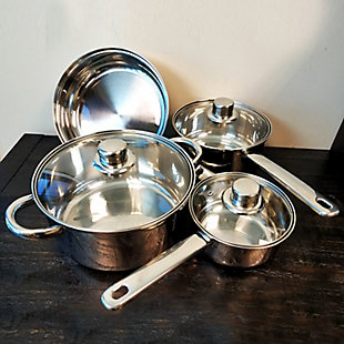 Gibson Home Landon 7-Piece Stainless Steel Cookware Set, , rollover