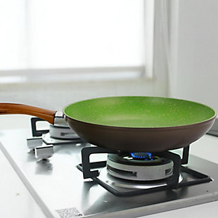 Gibson Cuisine Olivetti 10 Inch Aluminum Frying Pan in Green, , rollover