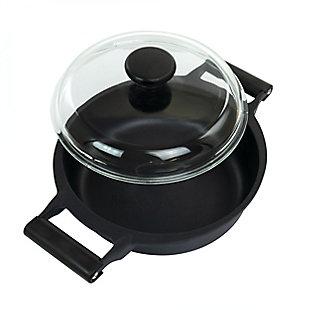 Gibson Cuisine Venus 4 Quart Nonstick Aluminum Braiser Pan with Borosilicate Glass Lid in Black, , large