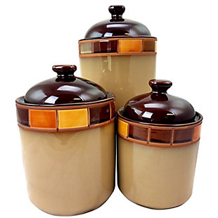 Casa Estebana 3 Piece Stoneware Storage Canister Container Jar Set, , large
