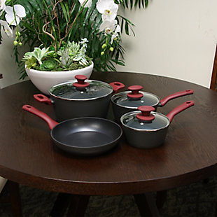 Gibson Home Marengo 7 piece Forged Aluminum Nonstick with Xylan Plus Interior Cookware Set with Red Handle and Matte Gray Exterior, , rollover