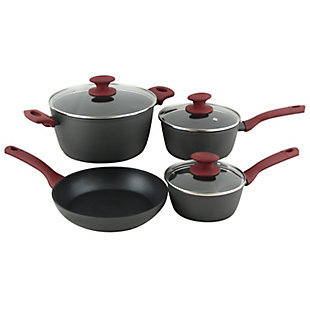 Gibson Home Marengo 7 piece Forged Aluminum Nonstick with Xylan Plus Interior Cookware Set with Red Handle and Matte Gray Exterior, , large