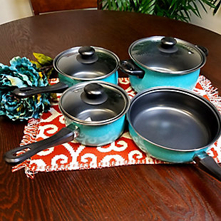 Gibson Home Casselman 7 piece Cookware Set in Turquoise, Blue, rollover