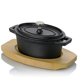 Gibson Home Campton 0.35 Quart Mini Oval Cast Iron Casserole Dutch Oven with Lid and Wooden Base, , large