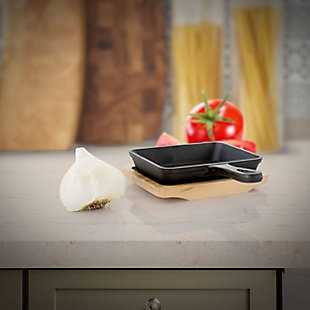 Gibson Home Campton 6 Inch Mini Square Cast Iron Frying Pan with Wooden Base, , rollover
