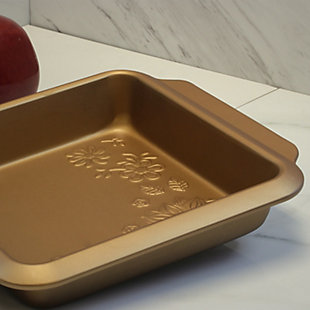 Gibson Country Kitchen 8 Inch Embossed Square Carbon Steel Bake Pan in Copper, , rollover