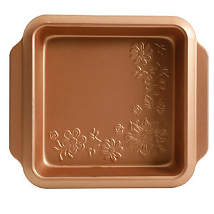 Gibson Country Kitchen 8 Inch Embossed Square Carbon Steel Bake Pan in Copper, , large