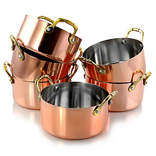 Gibson Home Rembrandt 6 Piece Stainless Steel 4.7 inch Mini Dutch Oven in Copper Platting, , large