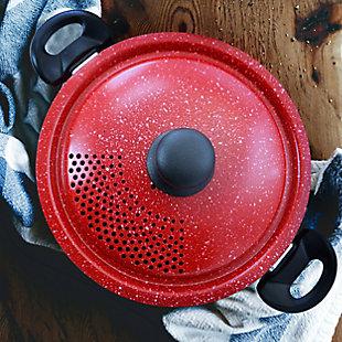 Gibson Granita 6 Quart Aluminum Pasta Pot with Strainer Lid in Red Speckle, , rollover