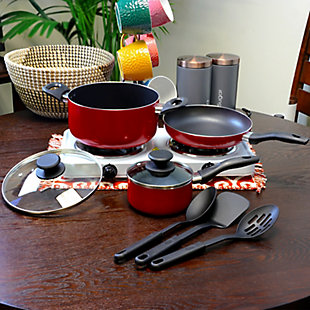 Gibson Home Palmer 8-Piece Cookware Set in Red, Red, rollover