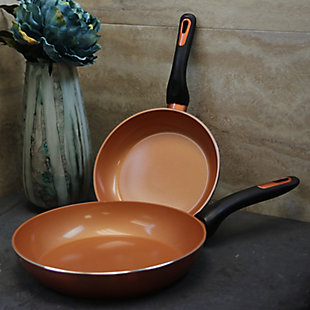 Gibson Home Hummington 2 Piece 10 Inch & 8 Inch Aluminum Frying Pan Set in Metallic Copper, , rollover