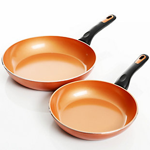 Gibson Home Hummington 2 Piece 10 Inch & 8 Inch Aluminum Frying Pan Set in Metallic Copper, , large