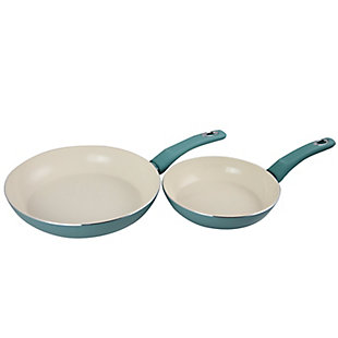 Gibson Home Plaza Cafe 2 Piece Aluminum Frying Pan Set with Soft Touch Handles in Sky Blue, Blue, large