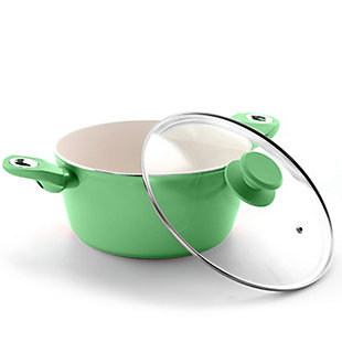 Gibson Home Plaza Cafe Aluminum 4.5 Qt Dutch Oven with Soft Touch Handles in Mint, Green, rollover