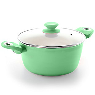 Gibson Home Plaza Cafe Aluminum 4.5 Qt Dutch Oven with Soft Touch Handles in Mint, Green, large