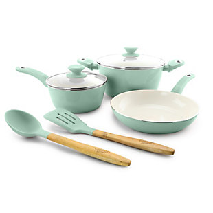 Gibson Home Plaza Cafe 7 Piece Essential Core Aluminum Cookware Set in Sky Blue, Blue, rollover