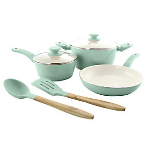 Gibson Home Plaza Cafe 7 Piece Essential Core Aluminum Cookware Set in Sky Blue, Blue, large