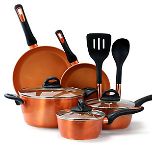 Gibson Home Hummington 10 Piece Ceramic Nonstick Aluminum Cookware Set in Copper, , large