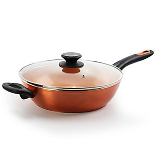 Gibson Home Cuisine 3 Quart Stainless Steel Nonstick Ceramic Saute Pan in Copper, , large