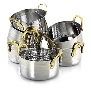 Gibson Home Lannister 6 Piece 16 Ounce Stainless Steel Mini Dutch Oven Cookware Serveware Set, , large