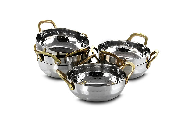 Gibson Home Lannister 6 Piece 5 Inch Stainless Steel Mini Serving Bowl Cookware Set, , large