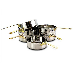 Gibson Home Lannister 6 Piece 4.7 Inch Mini Frying Pans with Gold Plated Handle, , large
