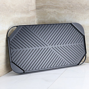 Gibson Home Sizzle Time 19.5 Inch Reversible Griddle and Grill Pan in Black, , rollover