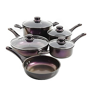 Gibson Home Glaze 9 Piece Aluminum Nonstick Cookware Set in Purple, , large