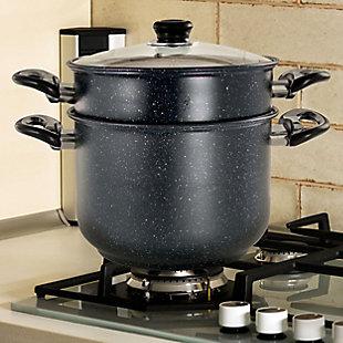 Gibson Home Leighton 3 Piece 8.5 Quart Steel Nonstick Pasta Pot with Steamer in Black, Black, rollover