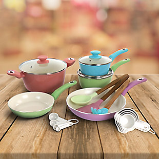 Gibson Home Pastel 19 Piece Aluminum Nonstick Ceramic Cookware Combo Set in Assorted Colors, , rollover