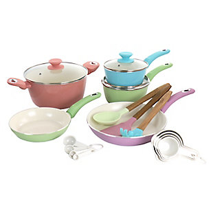 Gibson Home Pastel 19 Piece Aluminum Nonstick Ceramic Cookware Combo Set in Assorted Colors, , large