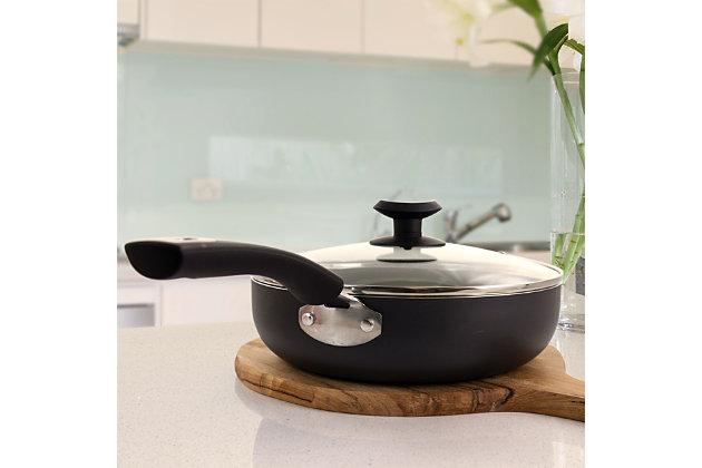 Gibson Home Hummington Ceramic Nonstick Aluminum 3 5 Quart Saute Pan With Lid In Green Ashley Furniture Homestore