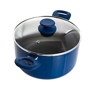 Gibson Home Charmont 6 Quart Nonstick Aluminum Dutch Oven with Lid in Yale Blue, , large