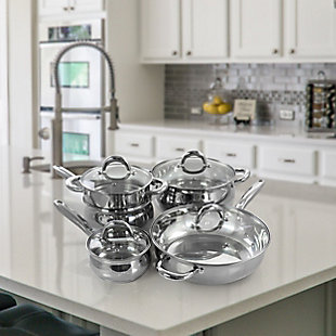 Gibson Home Ancona 12 Piece Stainless Steel Belly Shaped Cookware Set with Kitchen Tools, , rollover
