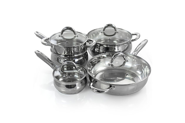 Gibson Home Ancona 12 Piece Stainless Steel Belly Shaped Cookware Set with Kitchen Tools, , large
