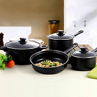 Gibson Home Chef Du Jour 7 Piece Carbon Steel Nonstick Cookware Set in Black, , rollover