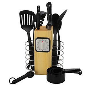 Gibson Home Total Kitchen 25 Piece Stainless Steel Cutlery and Kitchen Utility Tool Combo Set with Kitchen Timer and Wood Block, , large