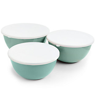 Gibson Home Plaza Cafe 3 Piece Stackable Nesting Mixing Bowl Set with Lids in Sky Blue, Blue, large