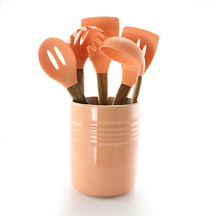 Gibson Home Plaza Cafe 5 Piece Silicone Kitchen Tools with Ceramic Crock in Coral, Orange, large