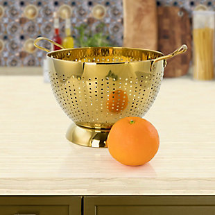 Gibson Home Rose Hue 5 Quart Stainless Steel Colander in Gold, , rollover